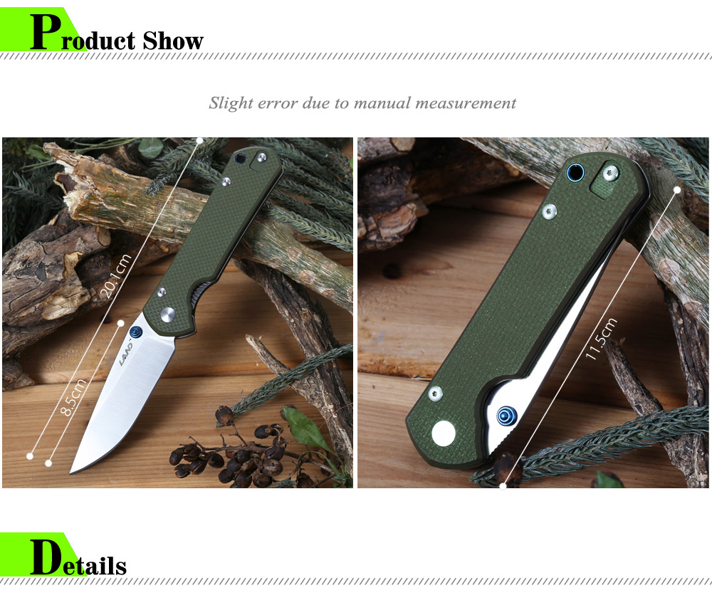 Sanrenmu LAND 910 Plus Liner Lock Folding Knife with G10 Handle