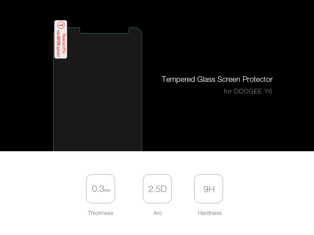 Tempered Glass Screen Protective Film for DOOGEE Y6 0.3mm 2.5D 9H Explosion-proof Protector