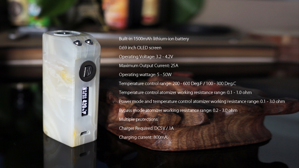 Original Dovpo ST 50 TC Box Mod with 5 - 50W / Built-in 1500mAh Lithium-ion Battery for E Cigarette