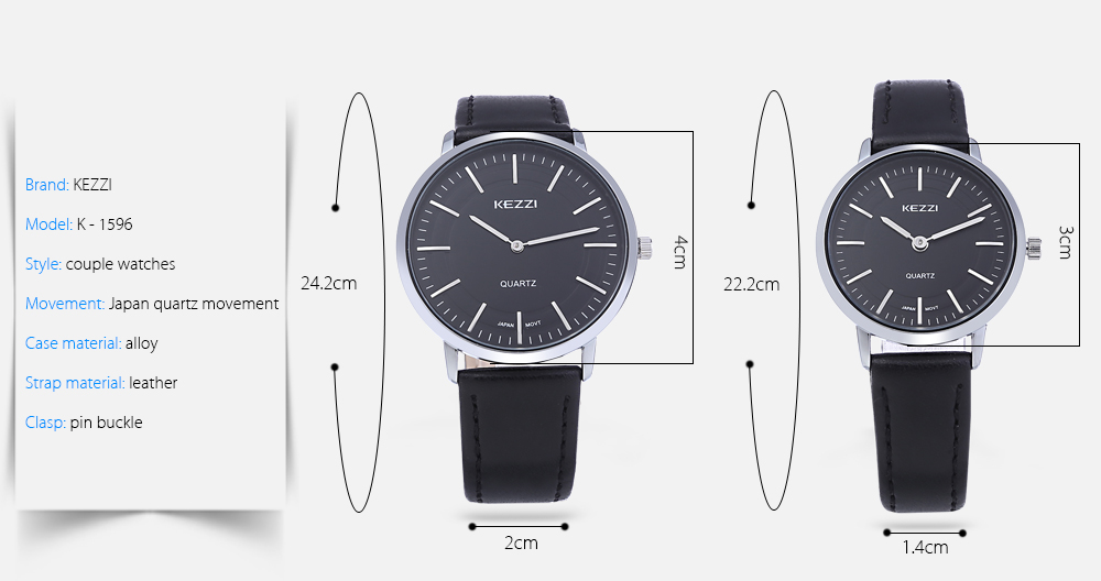 KEZZI K - 1596 Nail Scale Couple Watches Leather Strap Wristwatches