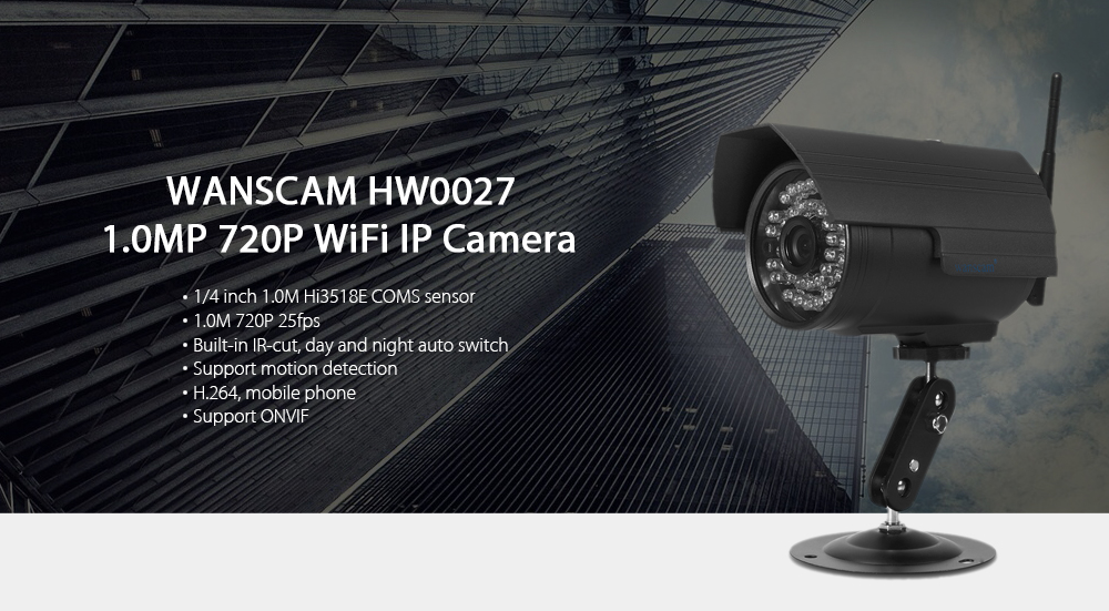 WANSCAM HW0027 1.0MP WiFi IP Camera 720P Motion Detection Waterproof