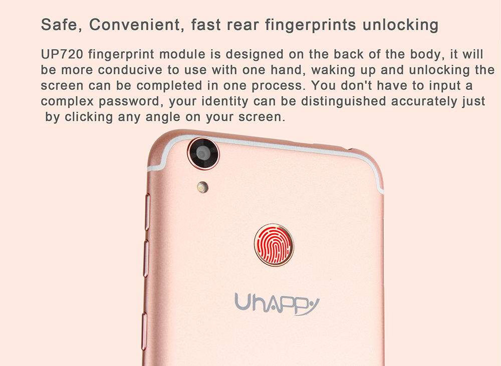 UHAPPY UP720 4G Smartphone 5.0 inch Android 6.0 MTK6737 Quad Core 1.3GHz 2GB RAM 16GB ROM 13.0MP Rear Camera