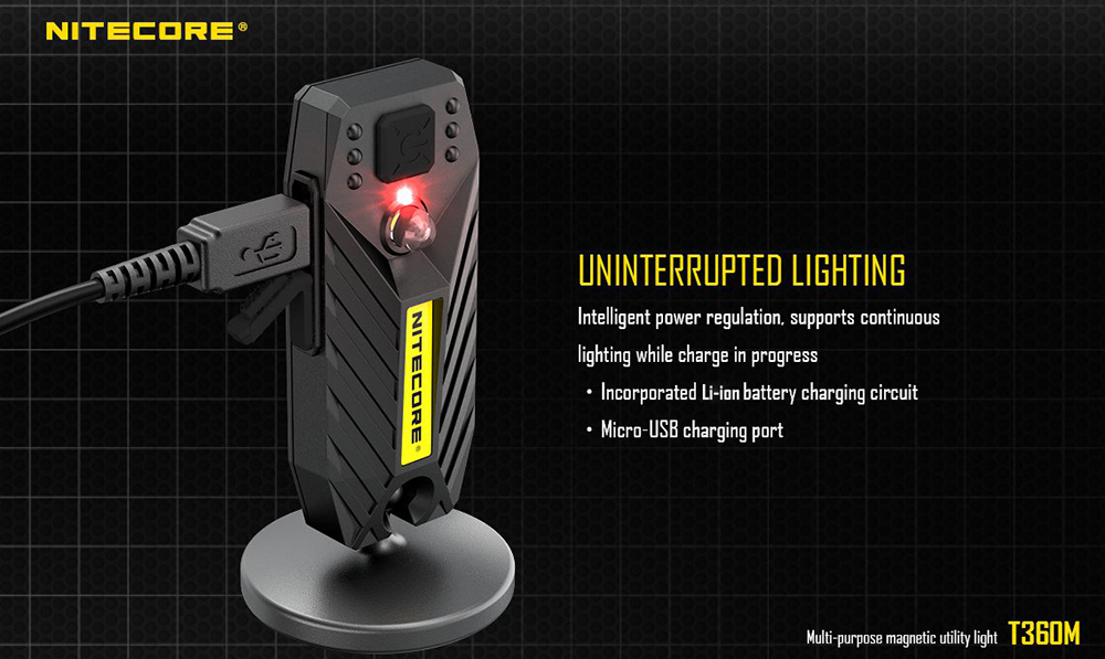 NITECORE T360M Rechargeable LED Flashight Utility Light Magnetic Pedestal
