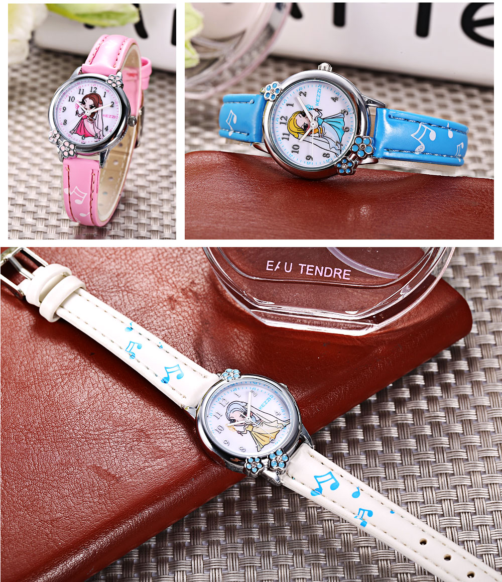 KEZZI K - 1592 Kids Quartz Watch Beautiful Cartoon Princess Dial Wristwatch