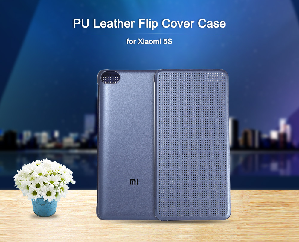 Original Xiaomi PU Leather Full Body Protective Case Smart Auto Wake-up for 5S