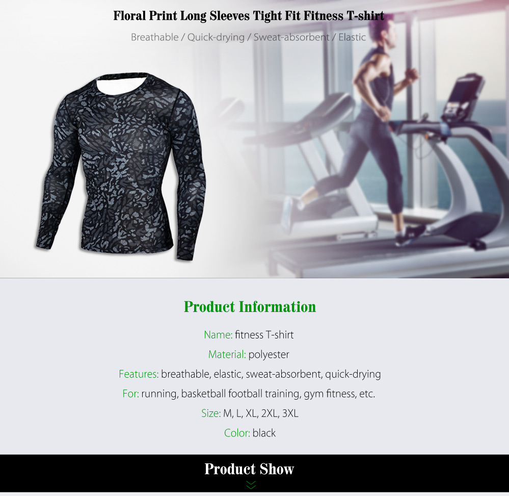 Floral Print Tight Fit Long Sleeves T-shirt Fitness Training Tops