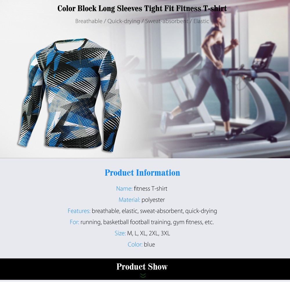 Color Block Tight Fit Long Sleeves T-shirt Fitness Training Tops