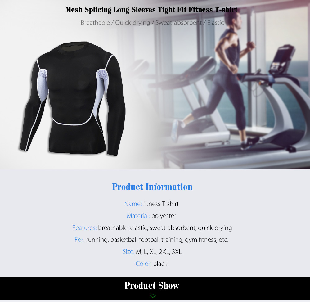 Mesh Splicing Tight Fit Long Sleeves T-shirt Fitness Training Tops