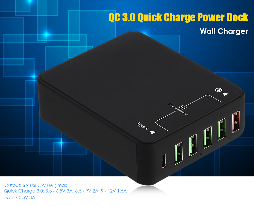 QC 3.0 Quick Charge Power Dock Wall Charger Type-C Port 5 USB Output