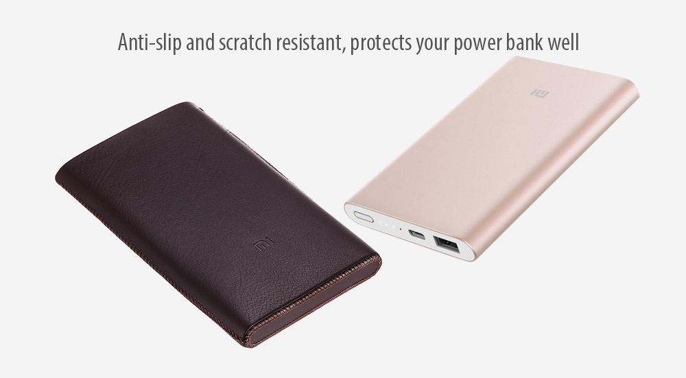 Xiaomi Mi Power Bank Pro 10000mAh Leather Cover Protective Case