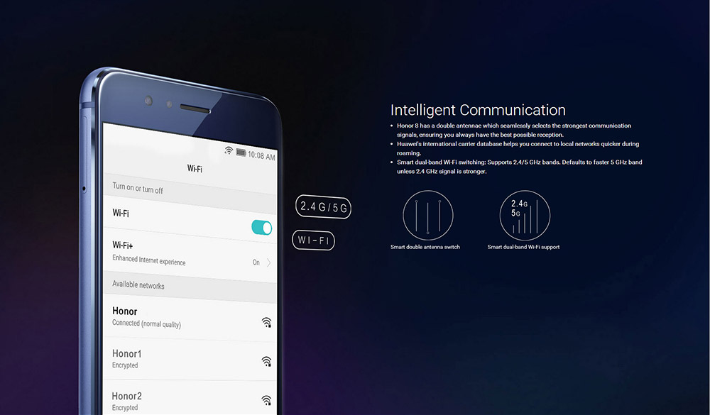 Huawei Honor 8 4G Smartphone 5.2 inch Android 6.0 Kirin 950 Octa Core 2.3GHz Type-C 8.0MP + 12.0MP Cameras