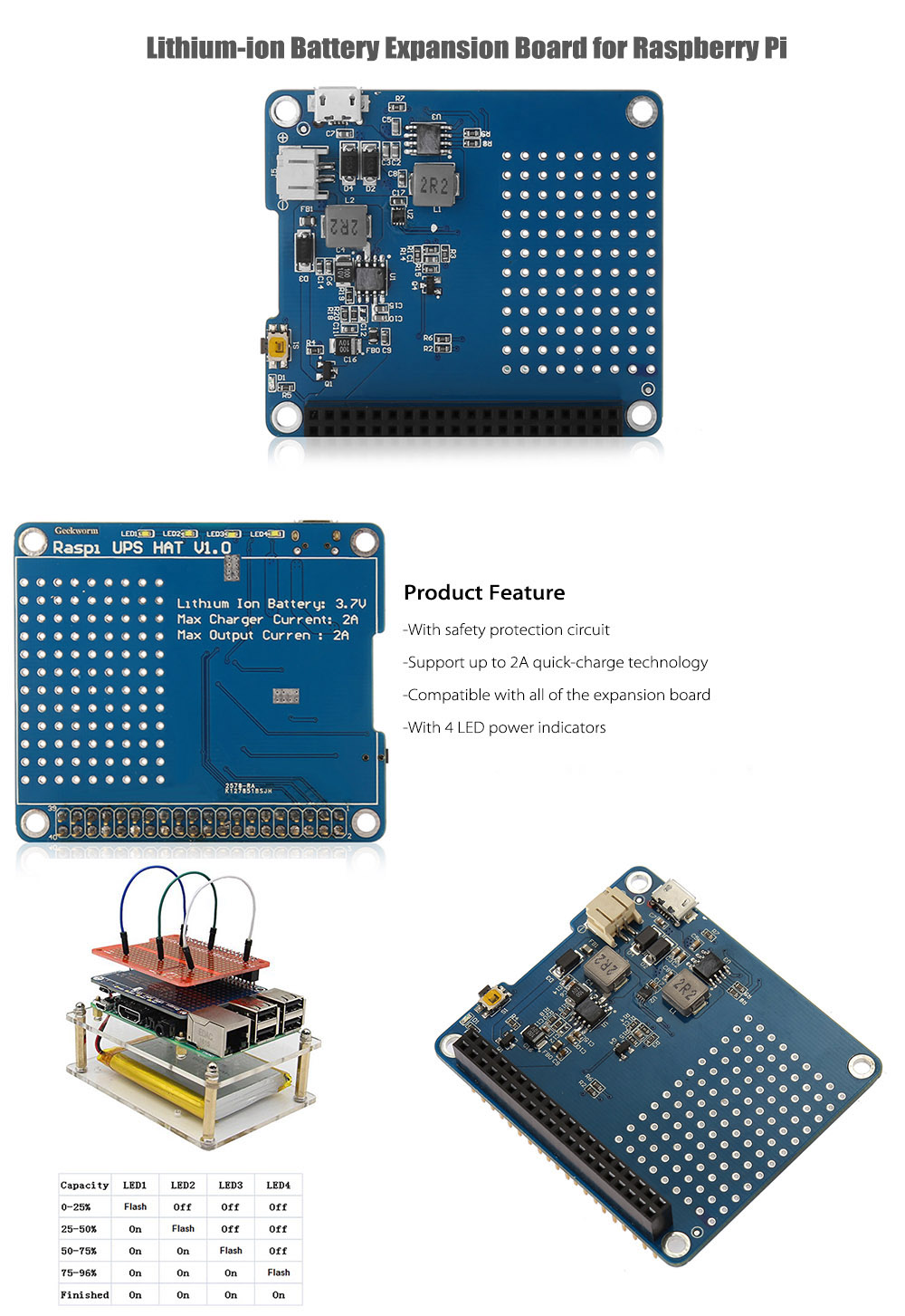 Lithium-ion Battery Expansion Board for Raspberry Pi