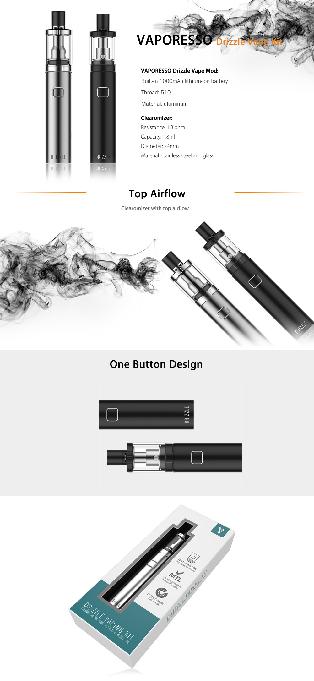 Original VAPORESSO Drizzle Vape Kit with Built-in 1000mAh Lithium-ion Battery / 1.3 ohm / 1.8ml Clearomizer for E Cigarette