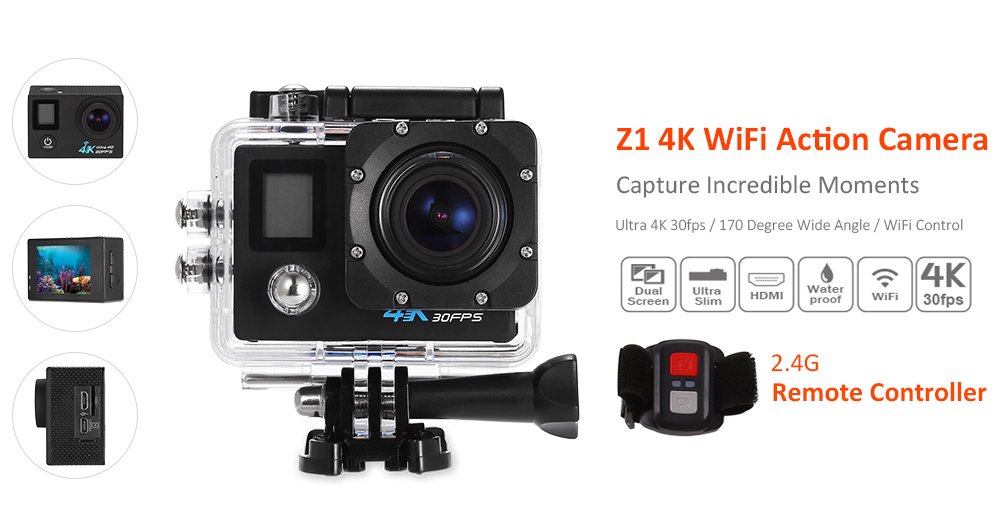 Z1 4K WiFi Action Camera 170 Degree FOV with 2.4G Remote Controller