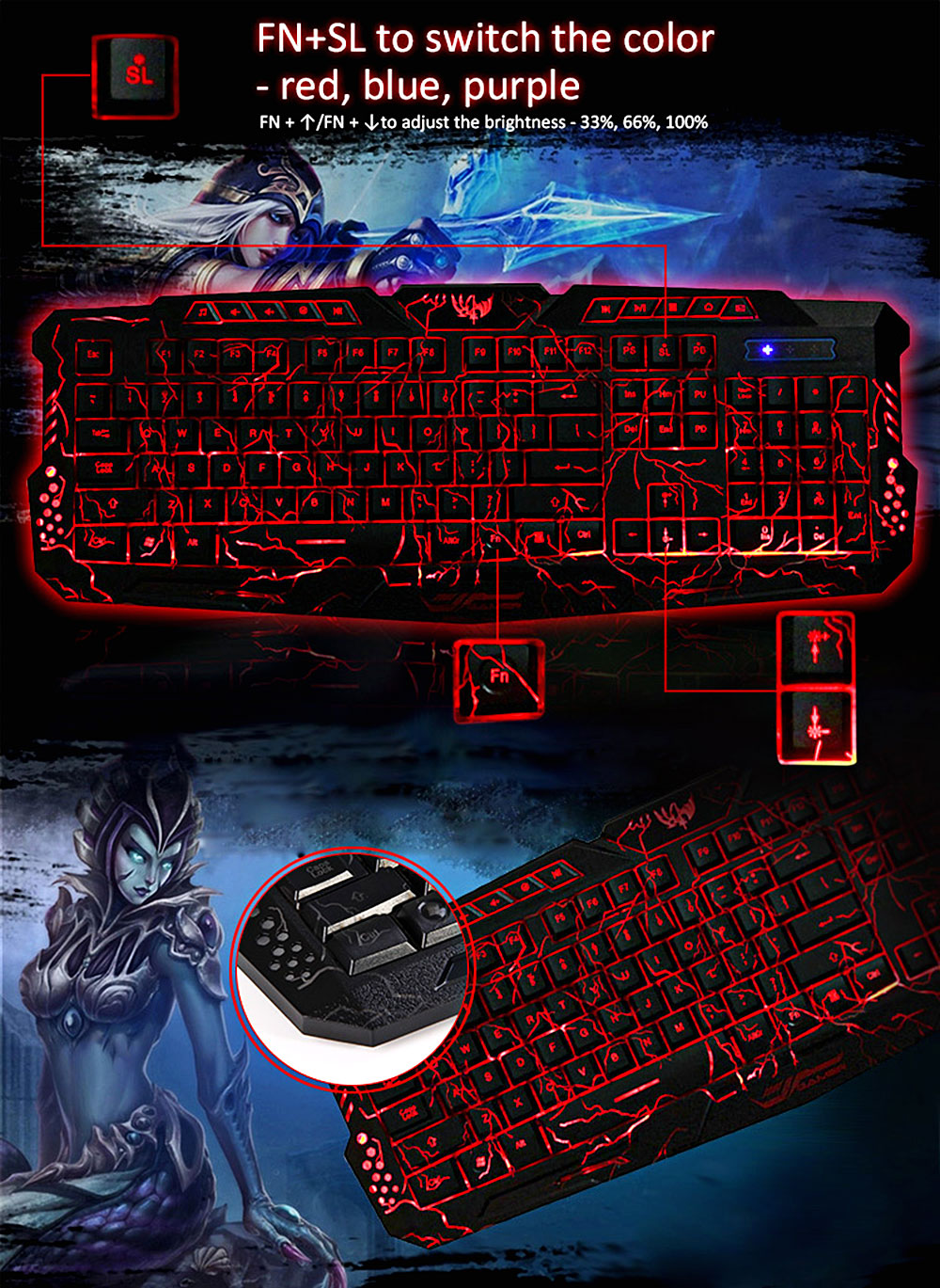 M-200 Pro Gaming Keyboard 3 Backlight Modes USB Powered 19 Keys Conflict-free for Desktop Laptop