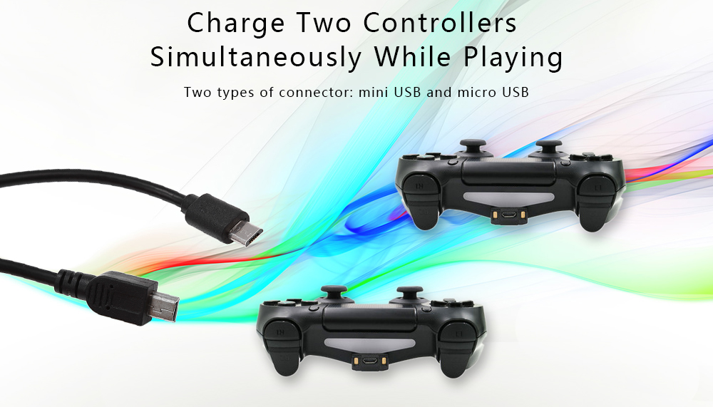 Dual-Charging Cables for PS4 PSVR Game Controllers