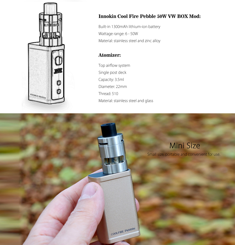 Original Innokin Cool Fire Pebble 50W VW BOX Mod Kit with Built-in 1300mAh Lithium-ion Battery / 3.5ml Atomizer for E Cigarette