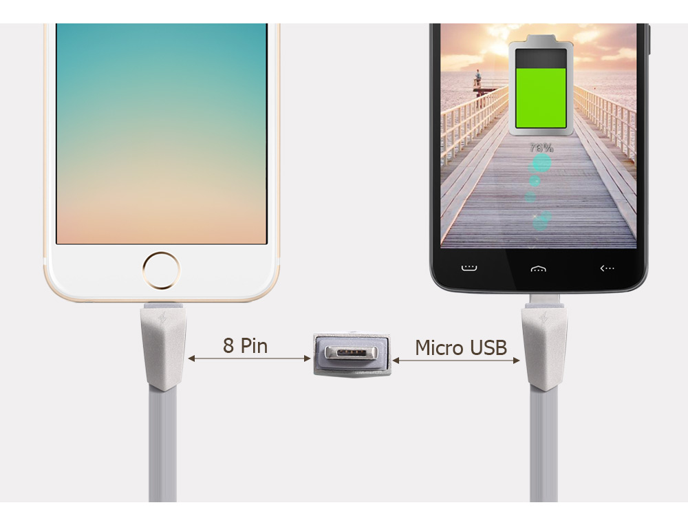 Entalent G3 1m Micro USB 8 Pin Data Transfer Charging Cable Zinc Alloy Connector