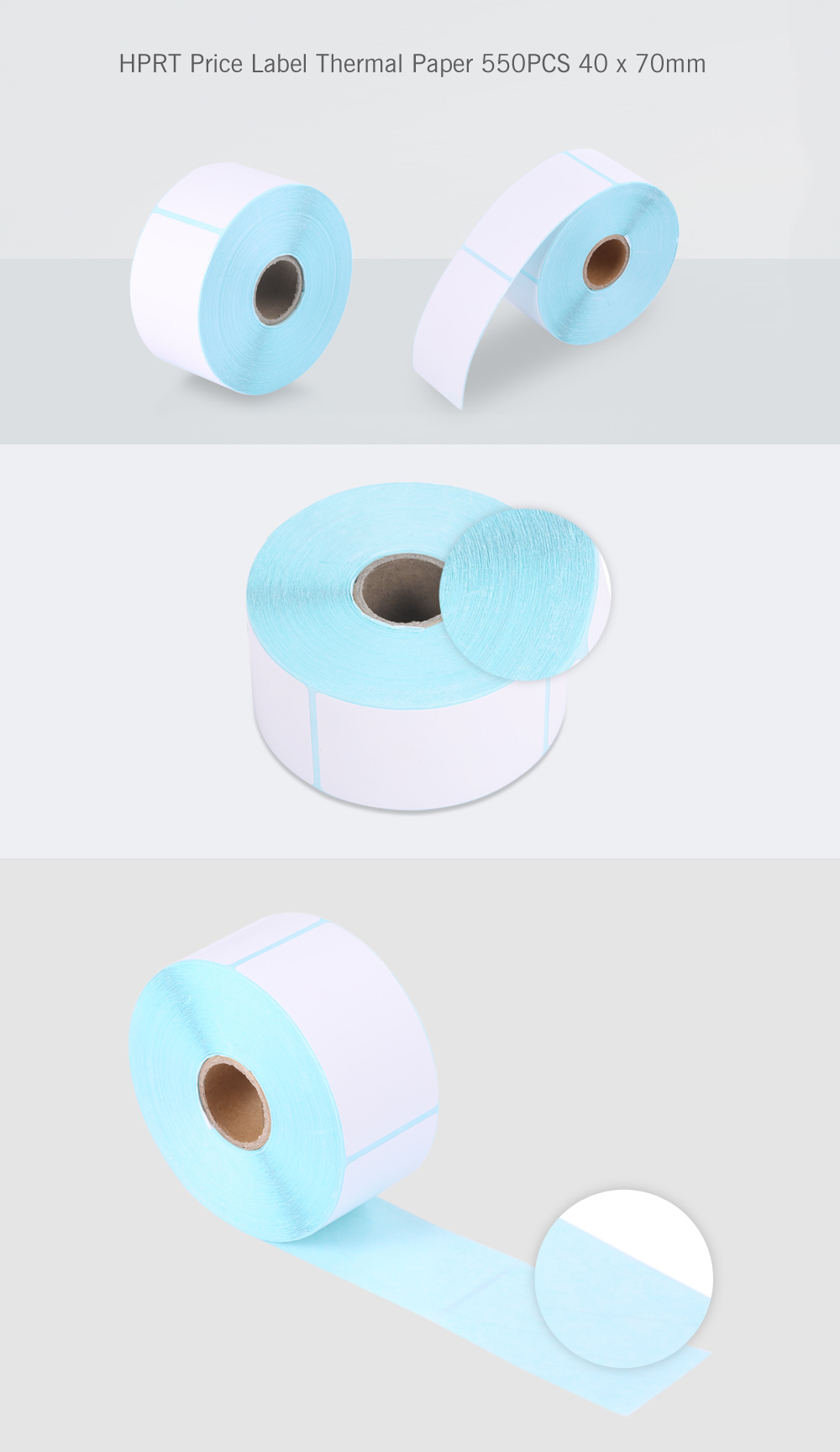 HPRT Thermal Label Paper Sticker Price Roll 550PCS 40 x 70mm