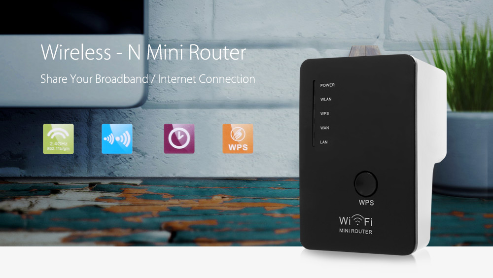 WR02 300Mbps Mini WiFi Repeater Wireless Router with Wall in Socket Support One Key Encryption ( AC 100 - 240V )