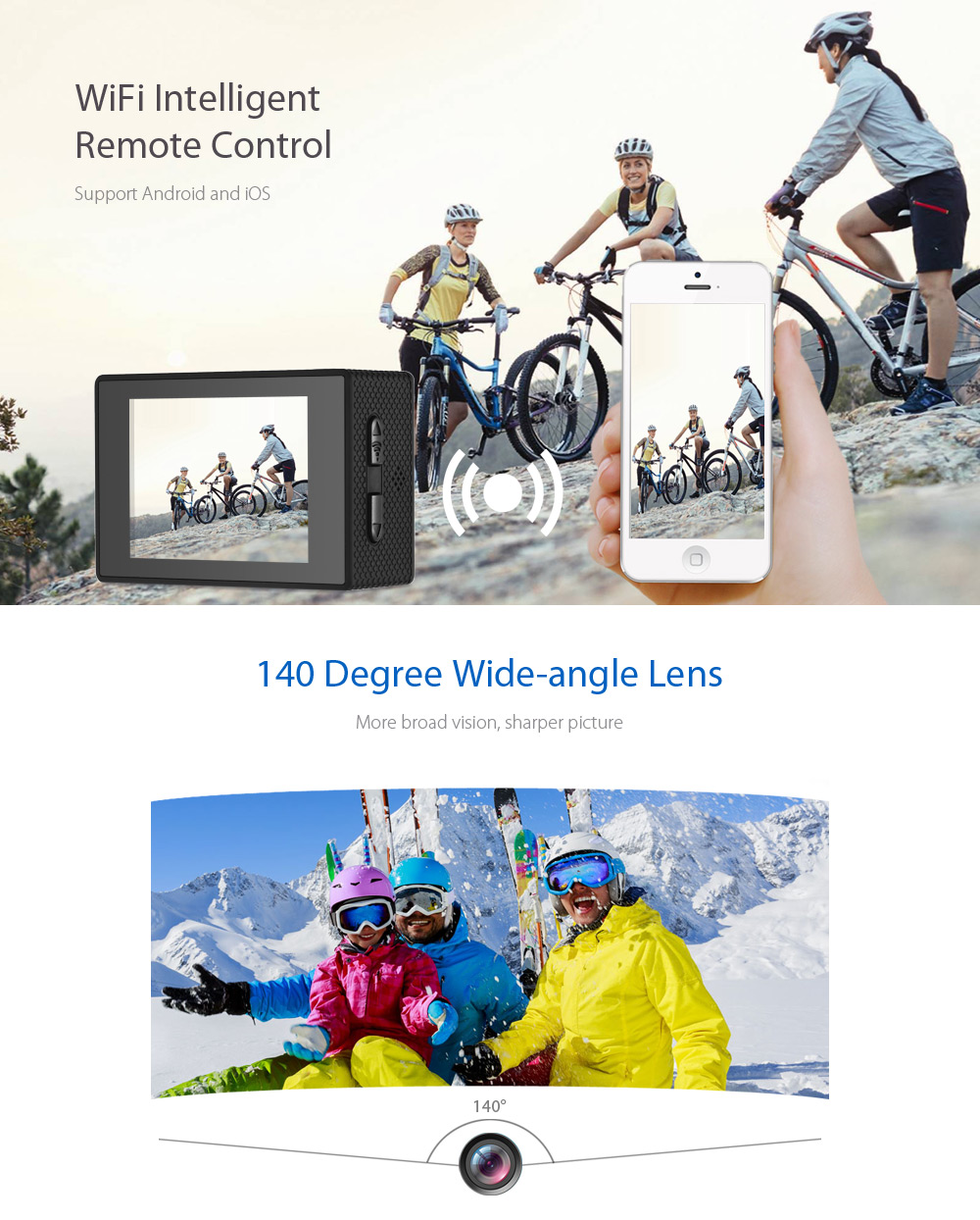 CS5000H 1080P WiFi Action Camera with 140 Degree FOV IP68 Waterproof
