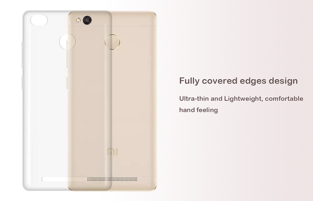 ASLING Transparent TPU Soft Case Protective Cover Phone Protector for Xiaomi Redmi 3X