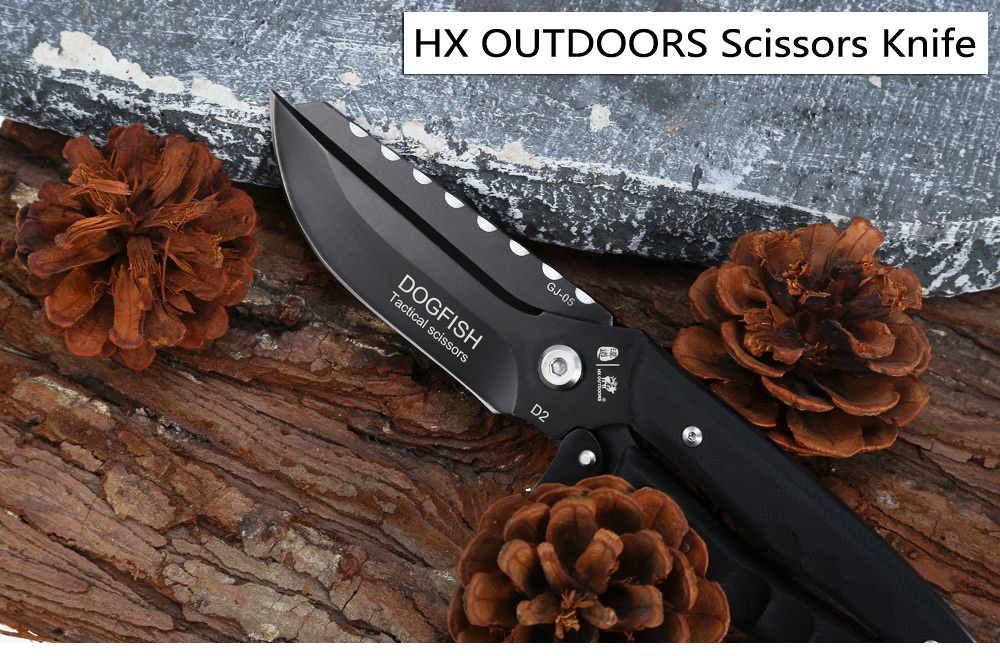 HX OUTDOORS GJ - 05 DOGFISH Scissors Knife with D2 Steel Blade / G10 Handle
