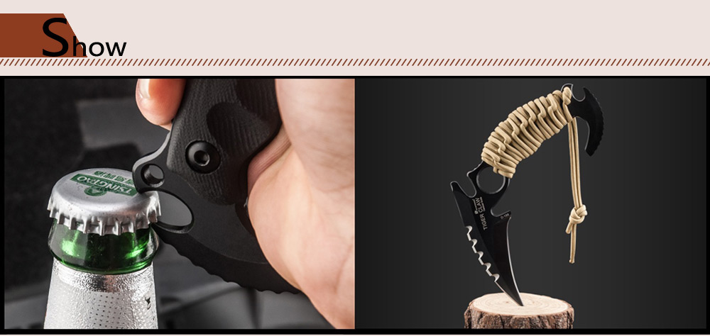 HX OUTDOORS D - 159 TIGER CLAW Fixed Blade Knife with Rope Cutter / Bottle Opener
