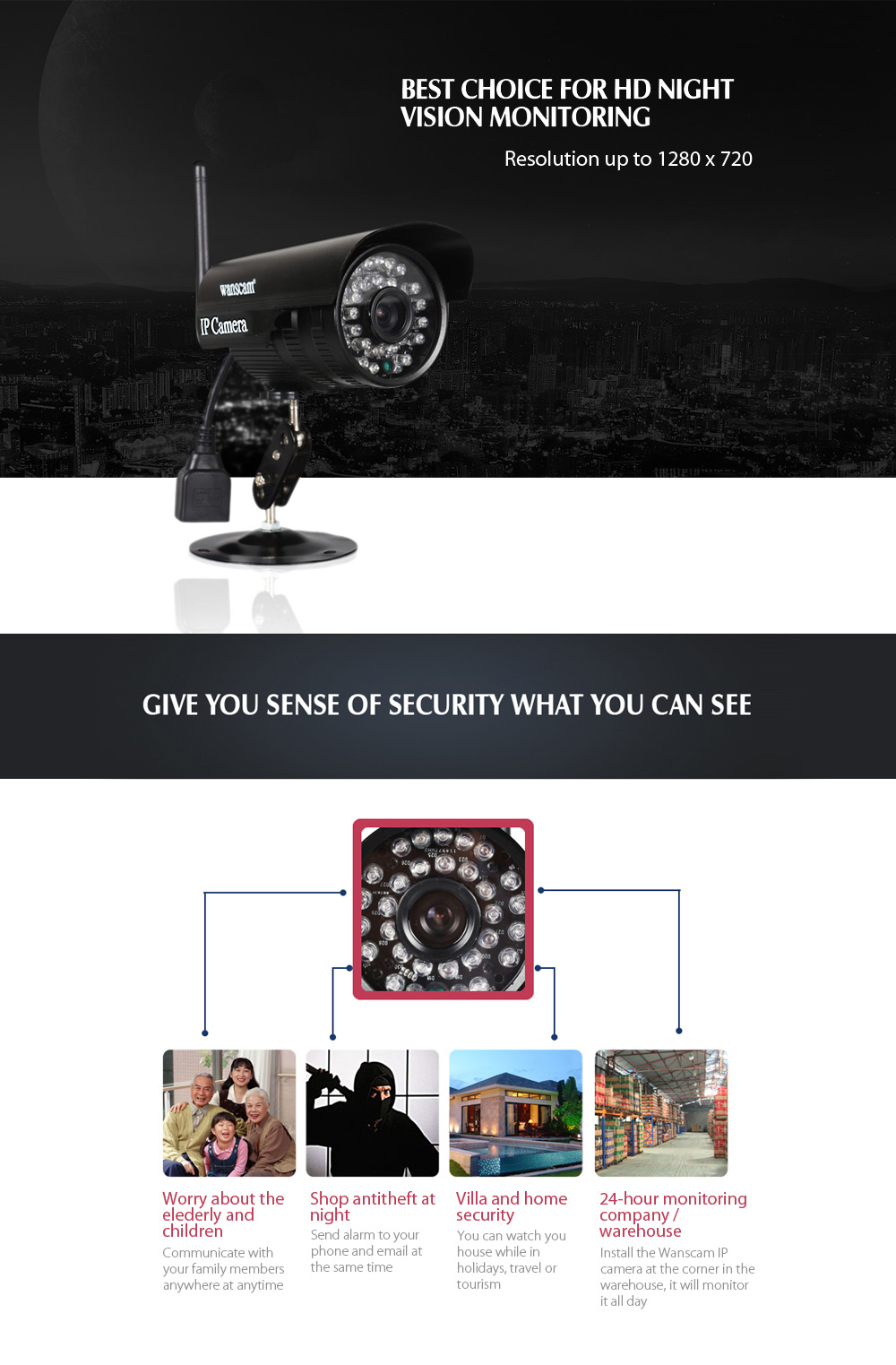 WANSCAM HW0052 1.0MP WiFi IP Camera 720P Waterproof Motion Detection