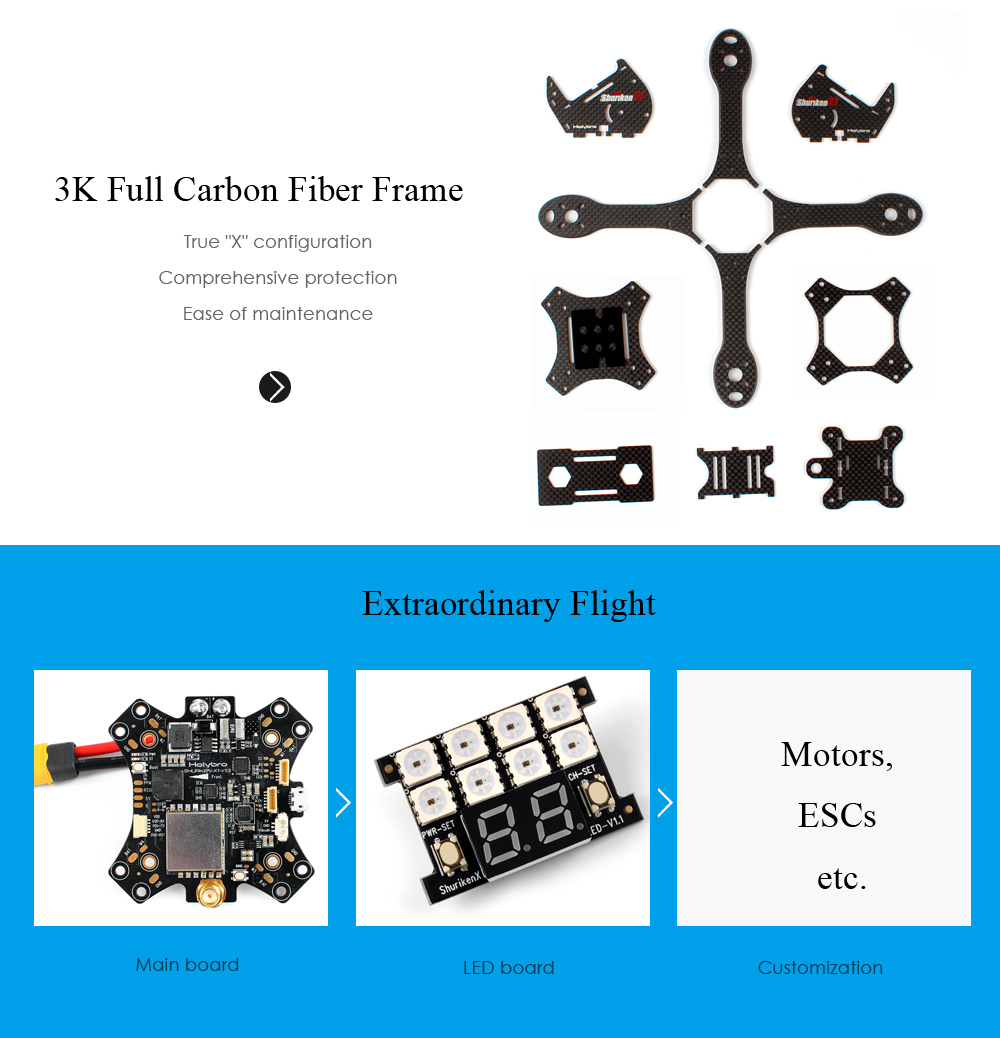 Holybro Shuriken X1 200mm RC Racing Drone DIY Assembly Kit with Main Board / LED / GoPro Session Mount