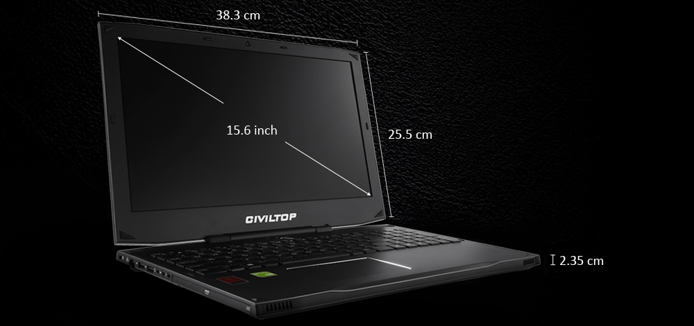 CIVILTOP G672FB 15.6 inch Notebook DOS OS Intel Core i7 4720HQ Quad Core 2.6GHz 8GB RAM 500GB HDD IPS FHD Screen Built-in Camera HDMI