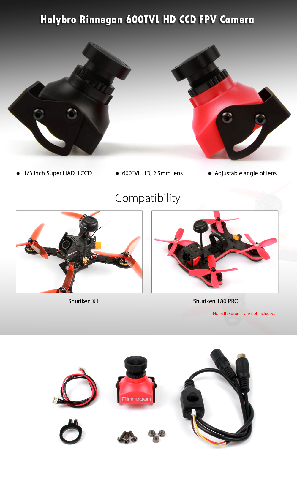 Holybro Rinnegan 600TVL HD Aerial Camera with CCD Sensor for Shuriken X1 / 180 PRO