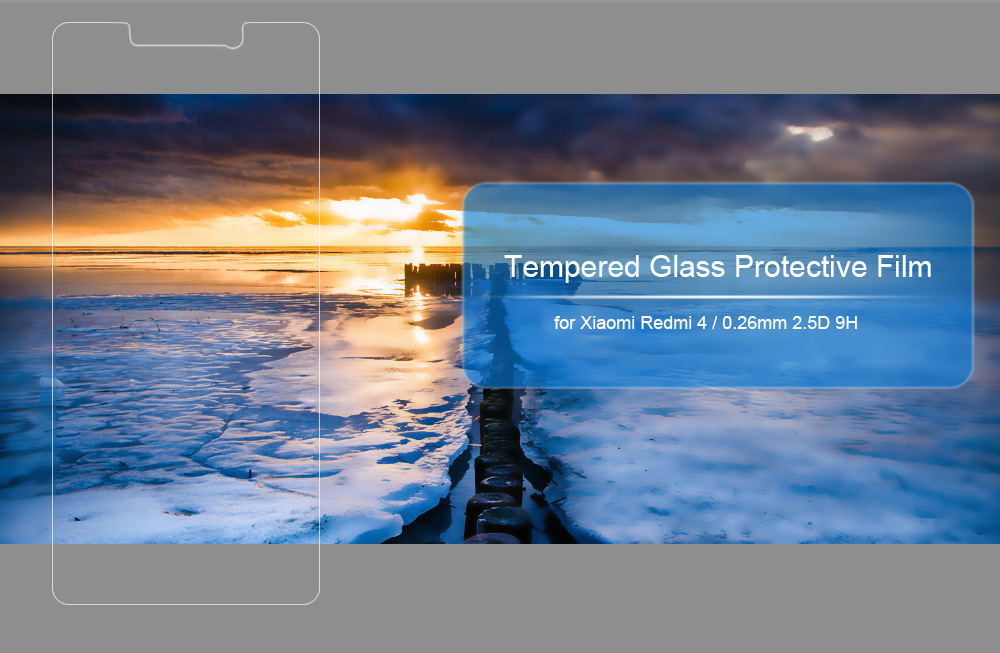 Tempered Glass Screen Protective Film for Xiaomi Redmi 4 Ultra-thin 0.26mm 2.5D 9H Explosion-proof Protector