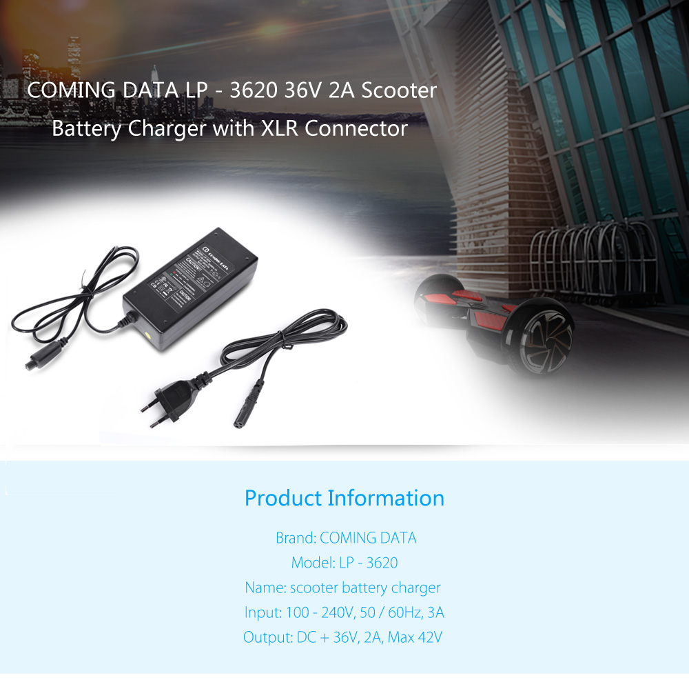 CD COMING DATA LP - 3620 36V 2A Lithium-ion Battery Charger Adapter with XLR Connector for Scooter