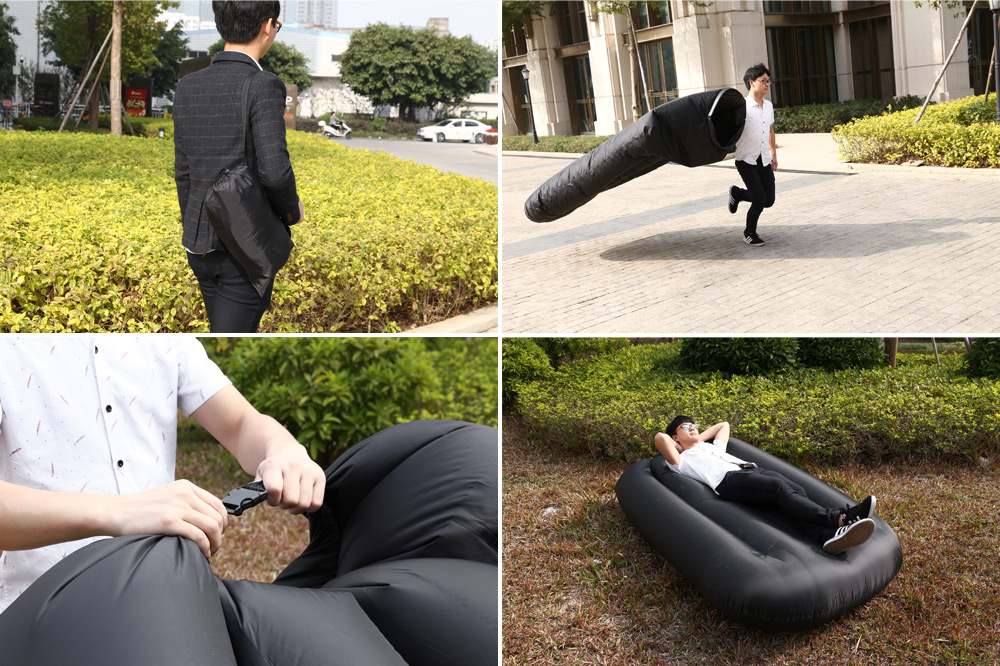 Portable Water-resistant Nylon 250kg Loading Fast Inflatable Bed Sofa for Beach Party