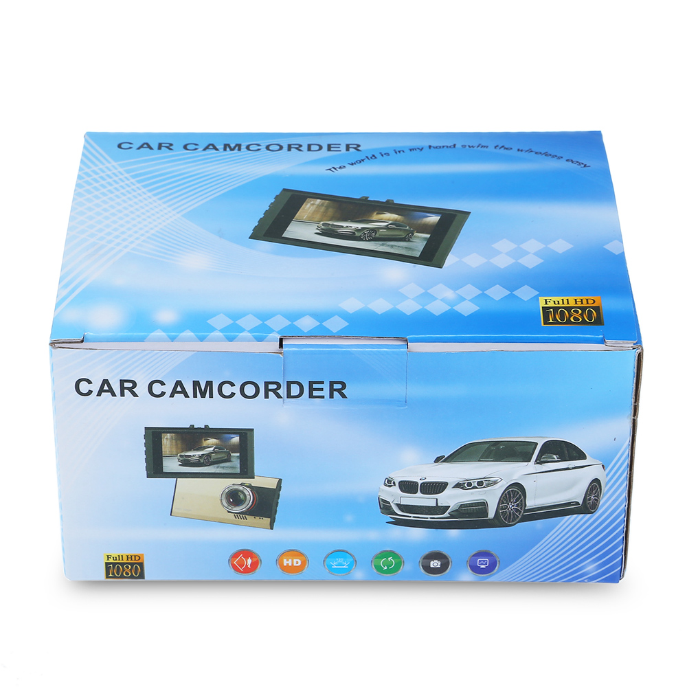 A8 1080P Full HD 170 Degree Wide Angle Car DVR Recorder LED Fill Light / Loop Cycle Recording