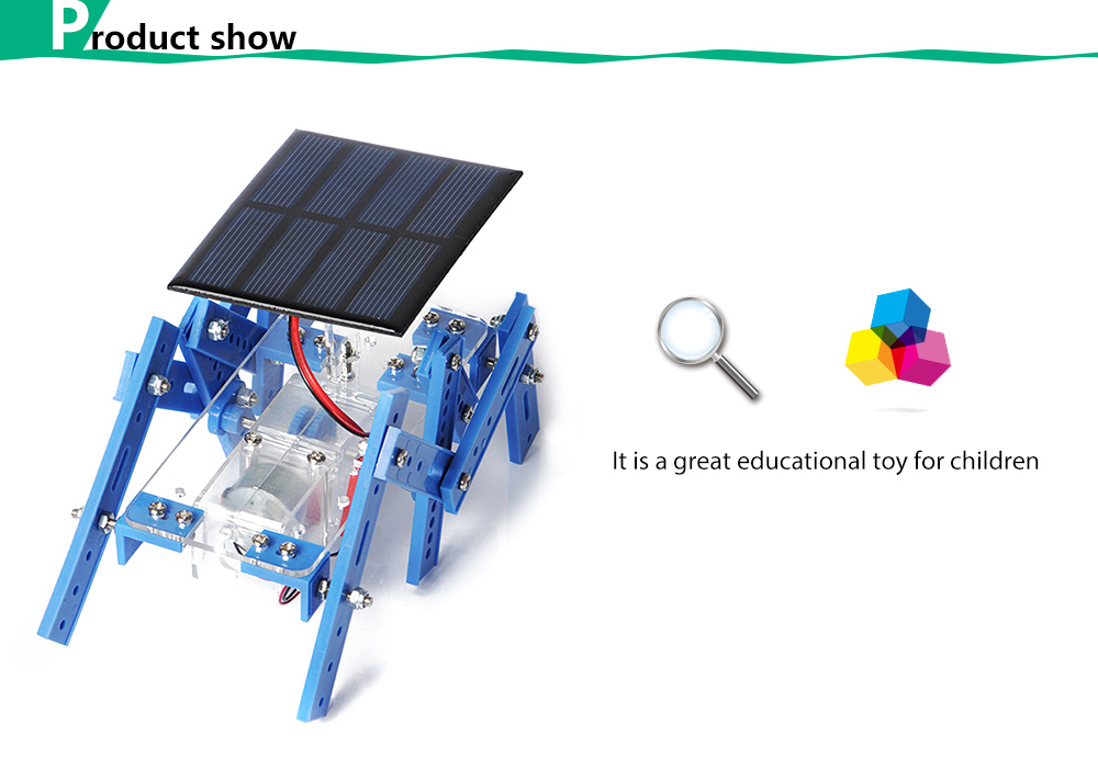 PXWG Plastic 3D Puzzle Robot Style Green Energy Solar Power Energy-saving Toy