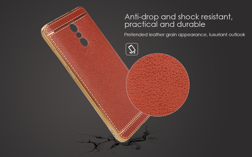 Luanke Electroplating TPU Case Protector for Xiaomi Redmi Pro Pretended Leather