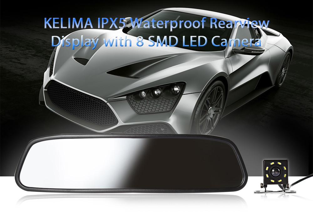 KELIMA Waterproof Rearview Display with 8 SMD LED Camera