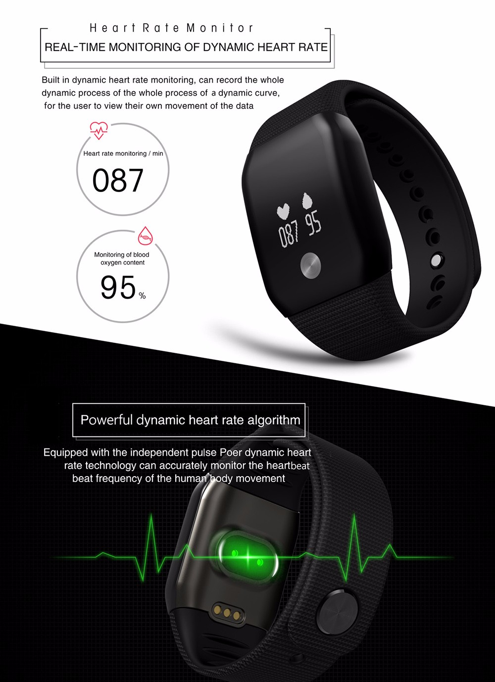 A99 Dynamic Heart Rate Blood Oxygen Monitor Smart Watch with Sleep Tracking