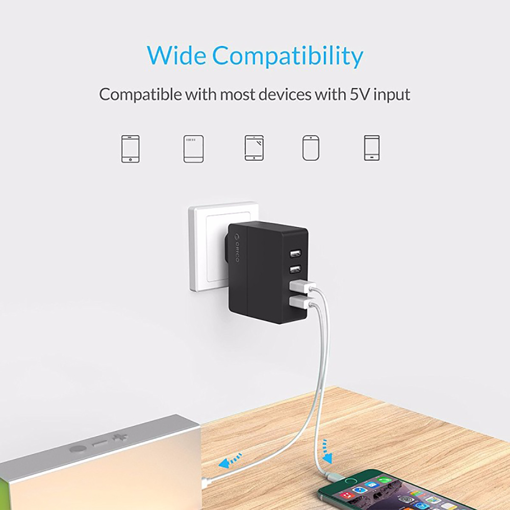 ORICO DCA-4U 4 Port USB 2.0 Wall Charger for iPhone iPad Samsung Galaxy Cell Phone Tablet