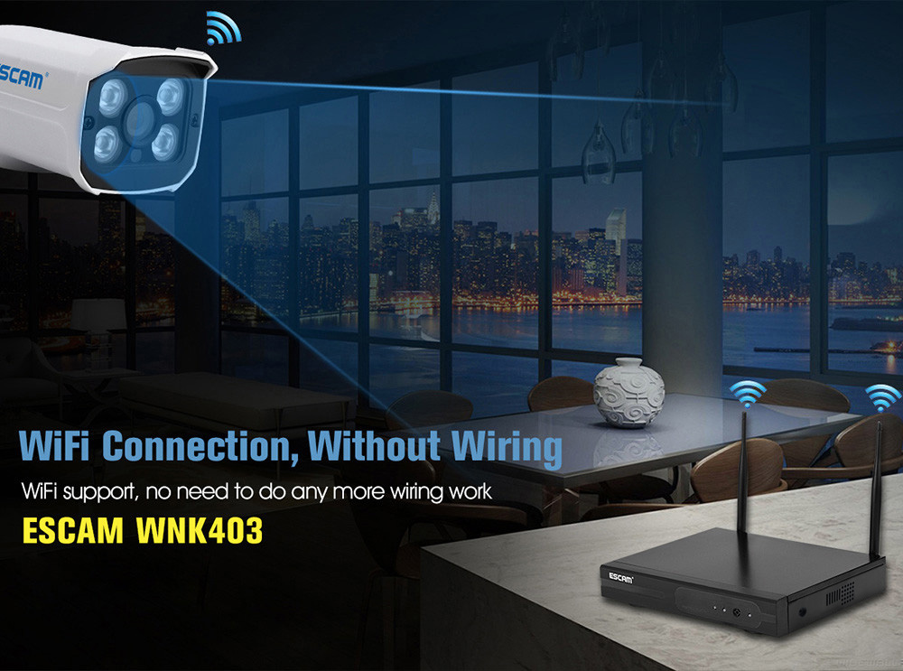 Escam WNK403 Wireless 720P 4 Channel NVR Kit with 4 IPC