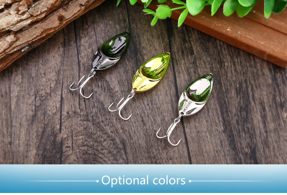 Yapada 002 15g Zinc Alloy Spoon Snake Head Style Hard Fishing Sequin Bait with Barbed Hook