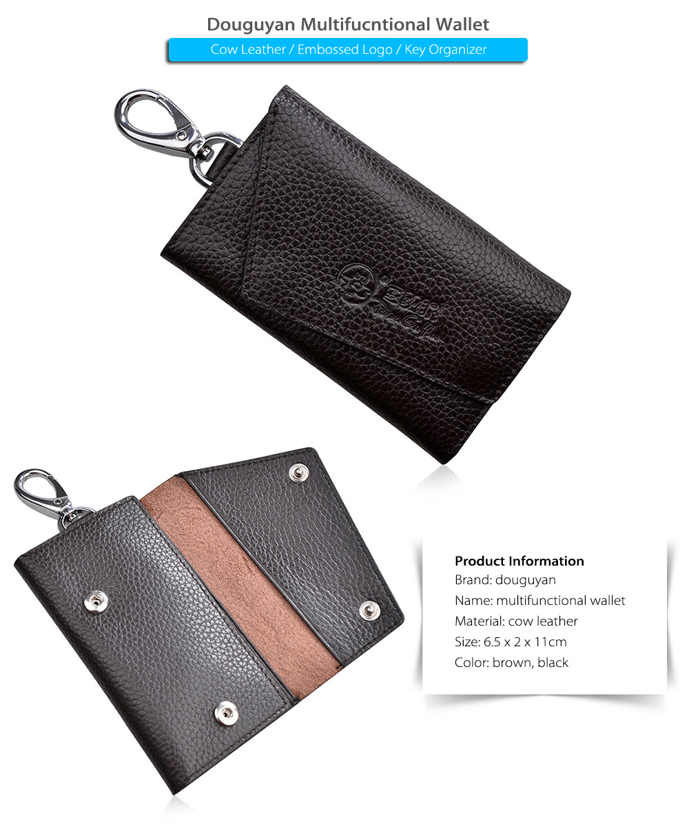 Douguyan Embossed Cow Leather Wallet Multifucntional Key Organizer