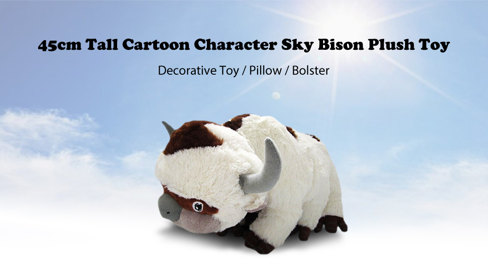 45cm Tall Cartoon Character Sky Bison Plush Toy for Birthday Collection Decoration