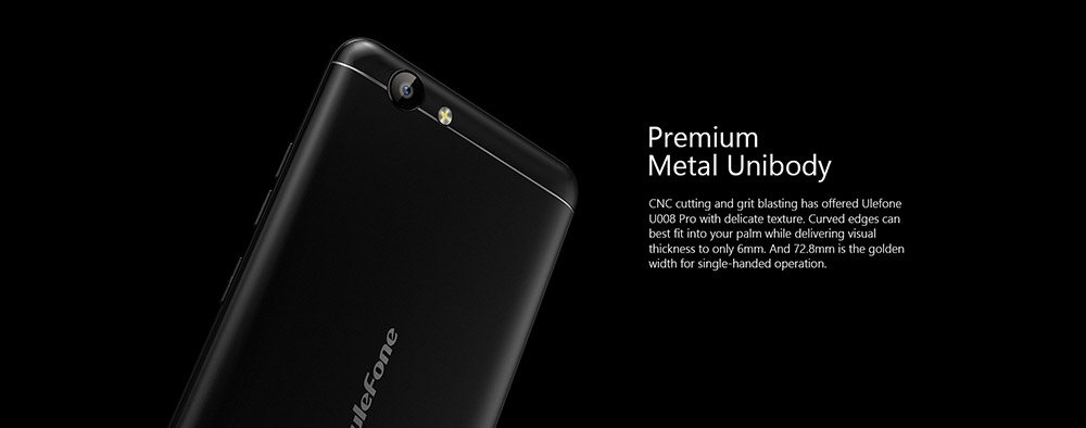 Ulefone U008 Pro 4G Smartphone 5.0 inch Android 6.0 MTK6737 Quad Core 1.3GHz 2GB RAM 16GB ROM Dual Band WiFi