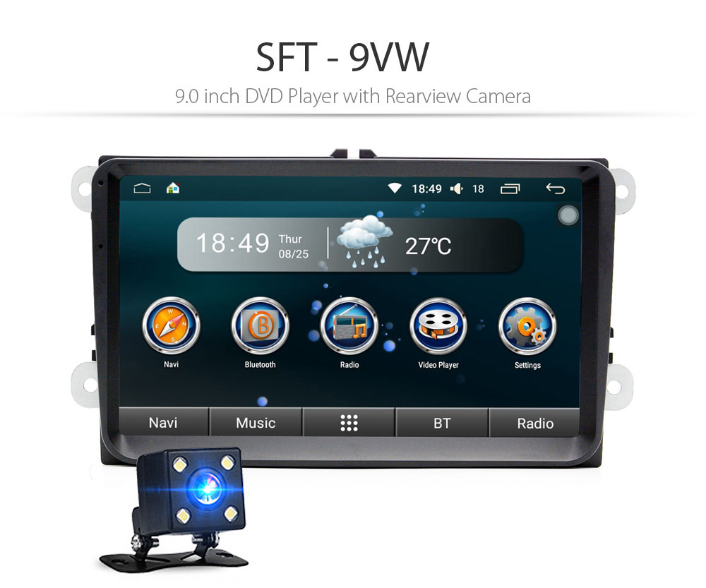 SFT - 9VW 9.0 inch DVD Player with Rearview Camera Support GPS WiFi Bluetooth