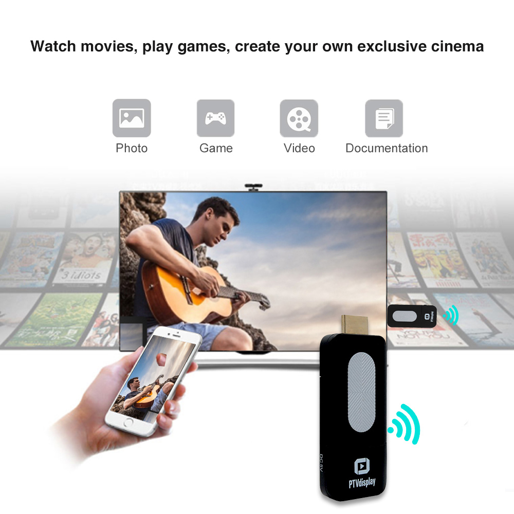 PTVdisplay DA02 DLNA Airplay WiFi Display Miracast TV Dongle HDMI Mini Linux