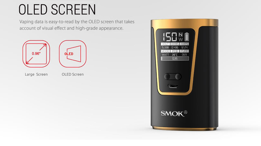 Original SMOK G150 Kit with 6 - 150W / 200 - 600F / 0.15 ohm Clearomizer for E Cigarette