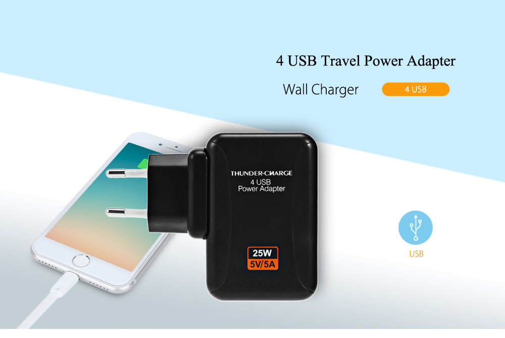 KELIMA Travel Power Adapter Wall Charger 4 USB Ports